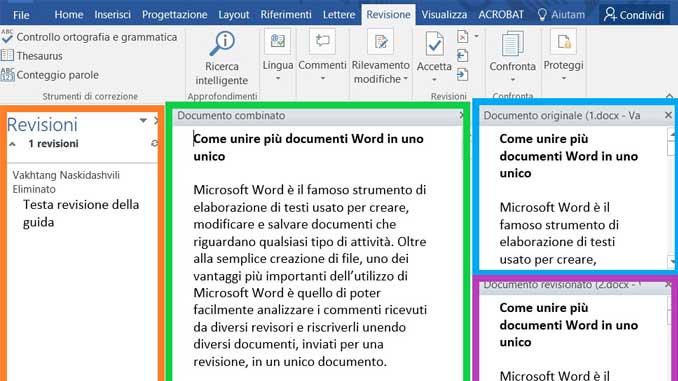 Come revisionare piu documenti word in un unico file