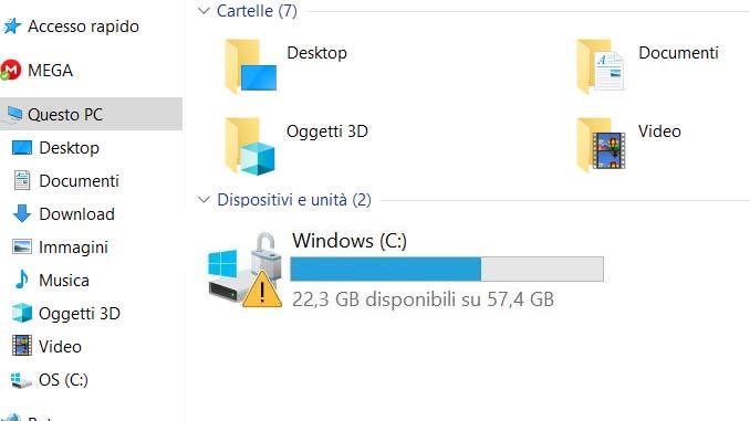 Windows 10 triangolo giallo con punto esclamativo sul disco locale c