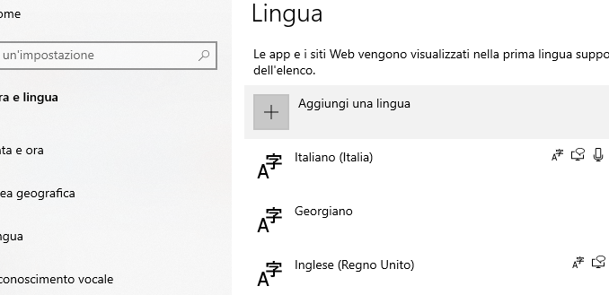 Windows 10 come cambiare la lingua del sistema operativo