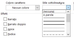Word stile sottolineatura