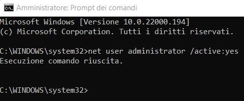 Attivare account amministratore in windows 11