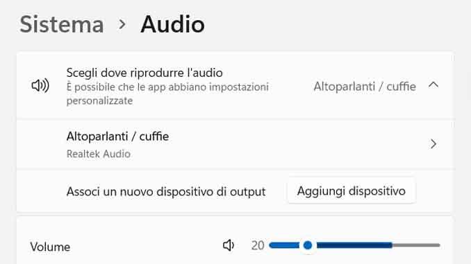 Cambiare dispositivo audio in uscita su windows 11