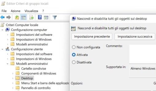 Come nascondere file del desktop su windows 10