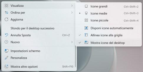 Nascondere icone del desktop su windows 11
