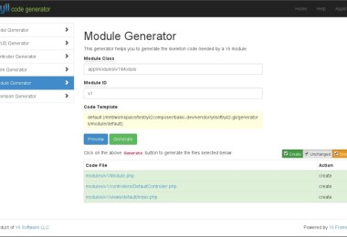 Creating a module with Gii