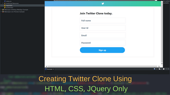 Creating Twitter Clone Using HTML, CSS, JQuery Only