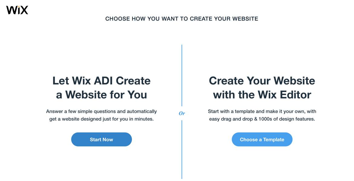 Choose how you want create your Wix site