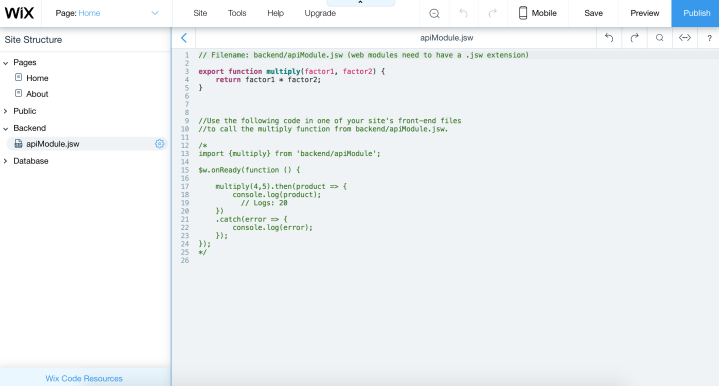 Creating a Backend Module in Wix Code
