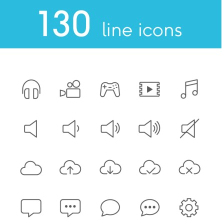 Vector Line Icons and Font Iconset Template