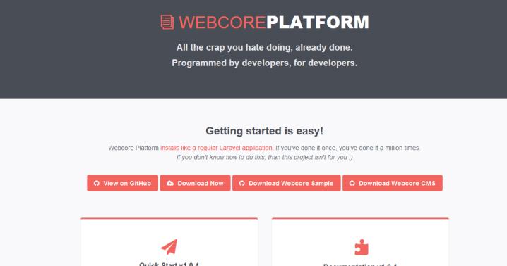 webcore platform Laravel admin panel
