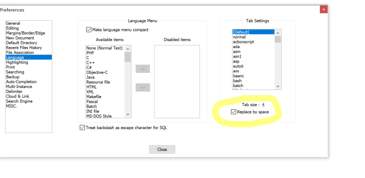 Convert notepad++ tabs to spaces