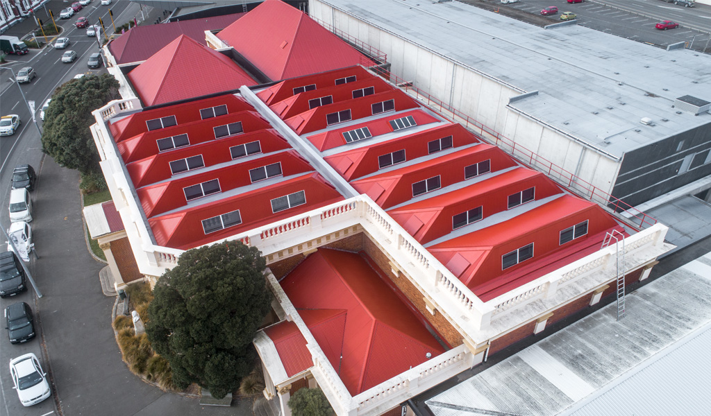 Aerial photo of Toitū Museum re-roof project by Dunedin Roofing Systems