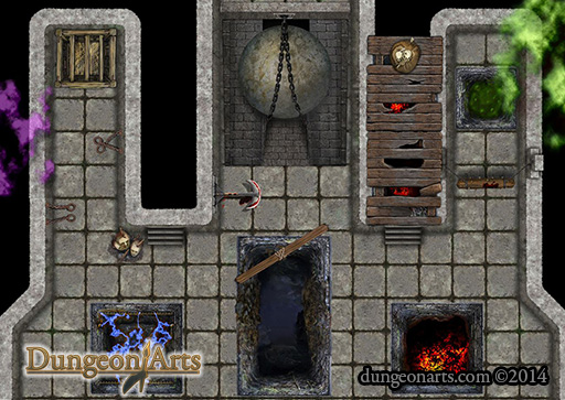 Small Map of Pits and Traps Fantasy Map Objects