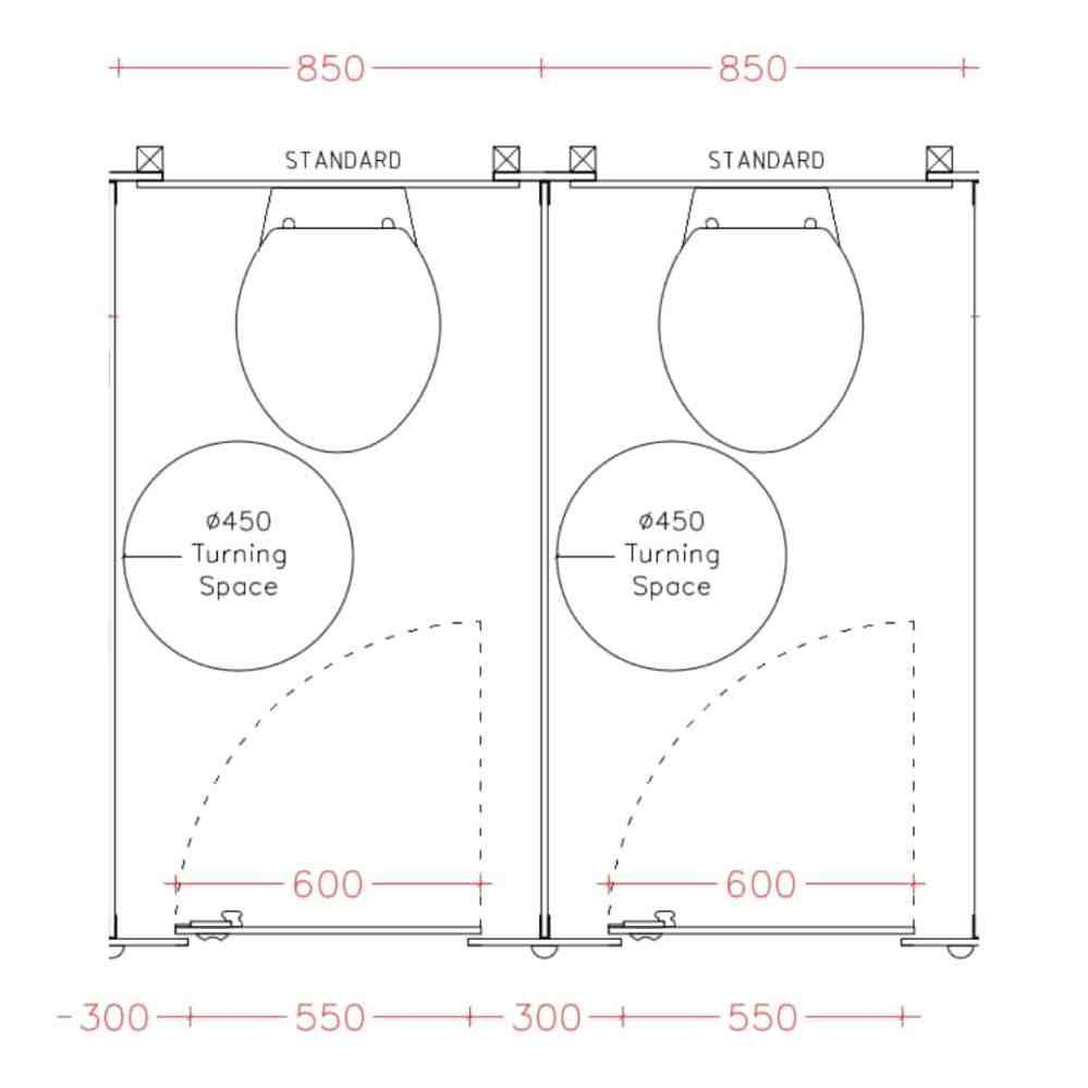 medium resolution of standard toilet cubicles