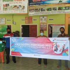 Pertagas Berbagi Bantuan Sosial di Wilayah Sekitar Proyek Pipa Minyak Rokan