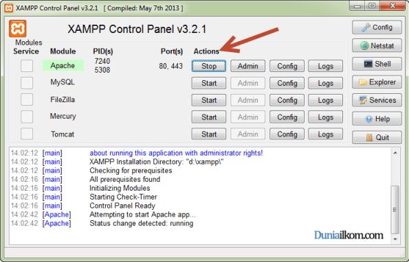 Cara Menginstall XAMPP - Web Server Apache Telah Berjalan