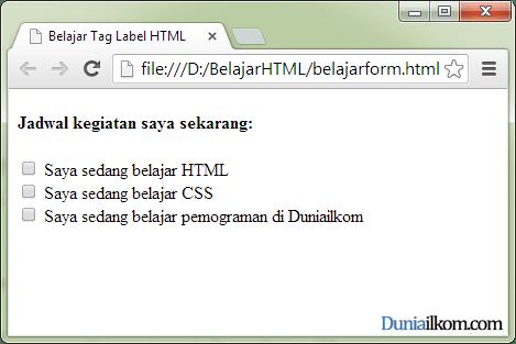 Tutorial Pembuatan Form HTML - Contoh Penggunaan Tag Label