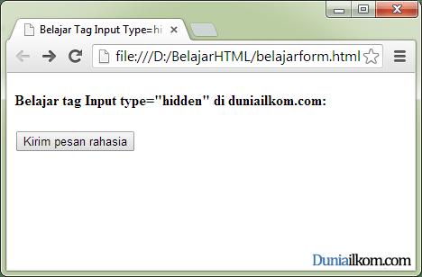 Tutorial Pembuatan Form HTML - Contoh Cara Penggunaan Tag Input Type Hidden