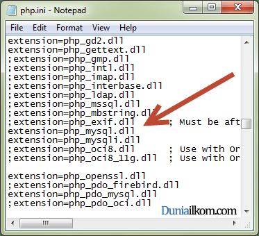 MySQL extension pada file php.ini