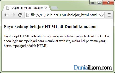 Contoh Cara Membuat Huruf Tercoret ( strikethrough ) dalam HTML - tag s