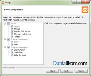 Cara Menginstall XAMPP di Windows - Pilih komponen yang akan diinstall