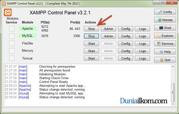 Cara Menginstall XAMPP di Windows - XAMPP Control Panel