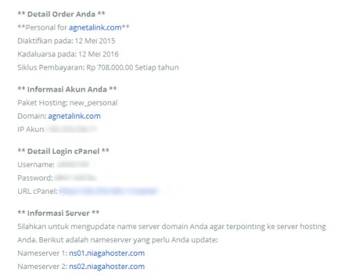 Data Akun Cpanel dan Web Server