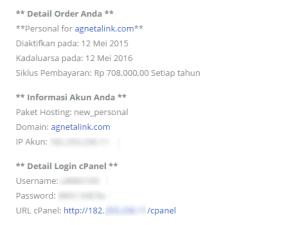 Email informasi data cPanel