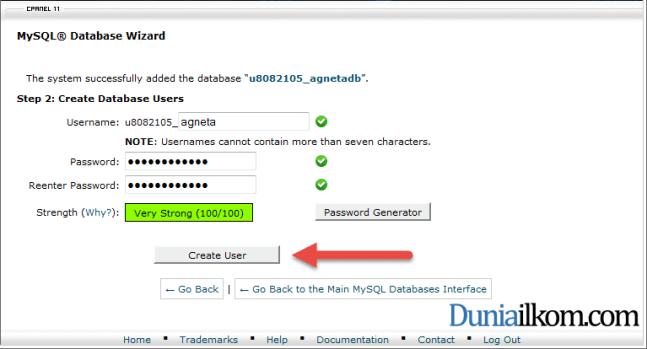 Membuat User Name Database MySQL dalam cPanel