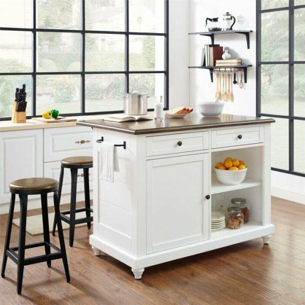 Meja Dapur Minimalis Duco Putih Kaki Bulat