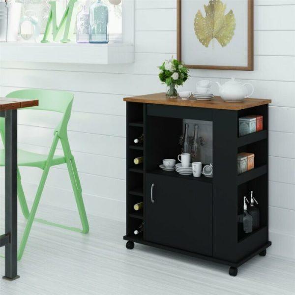Meja Dapur Dorong Dengan Roda Kunci