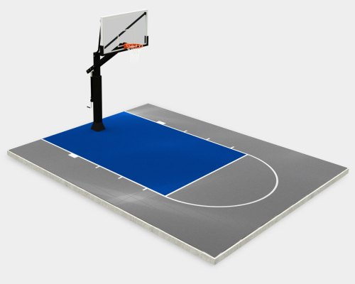 20' x 25' basketball court, gray with an bright-blue key and lines