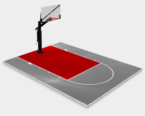 20' x 25' basketball court, gray with a red key and lines