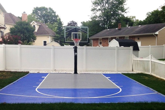 20 x 25' Blue and Gray Basketball Half Court