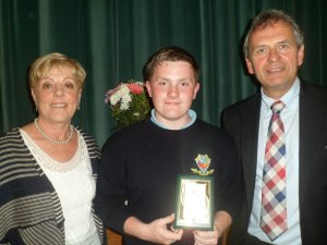 Ronan Gannon receives his award for Full Attendance for six years