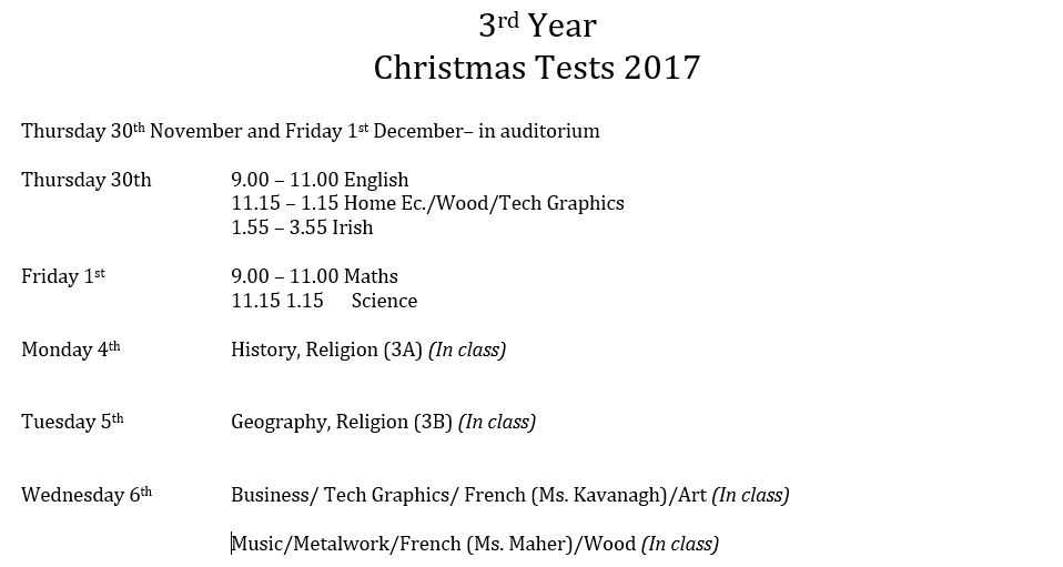 Christmas History In English.Christmas Test 3rd 6th Years Dunmore Community School