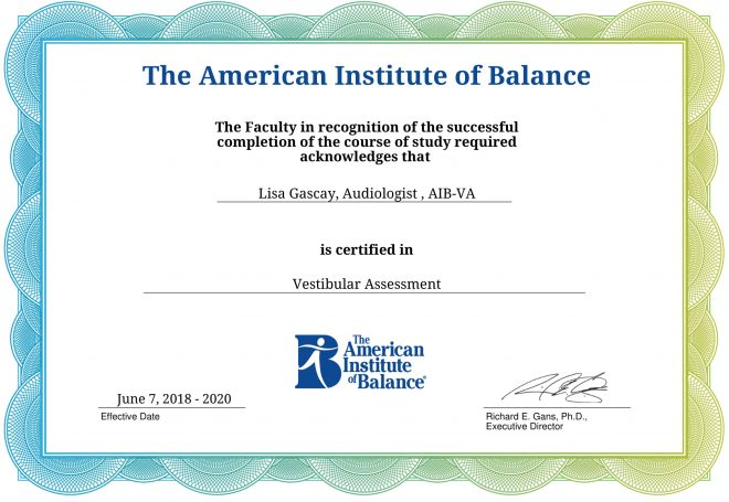 American Institute of Balance (AIB) Vestibular Assessment Certificate
