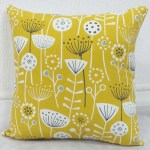 bergen yellow grey ochre patterned scatter cushions