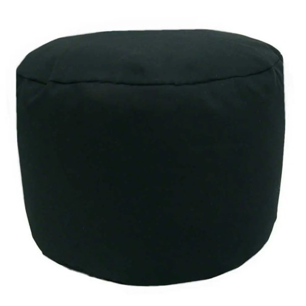 black cotton drill round footstool pouffe