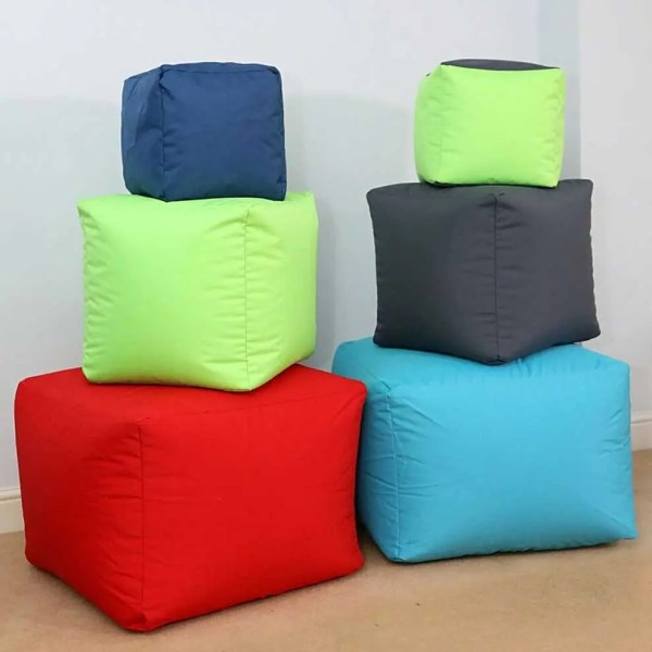 cotton drill cube fabric footstool pouffes