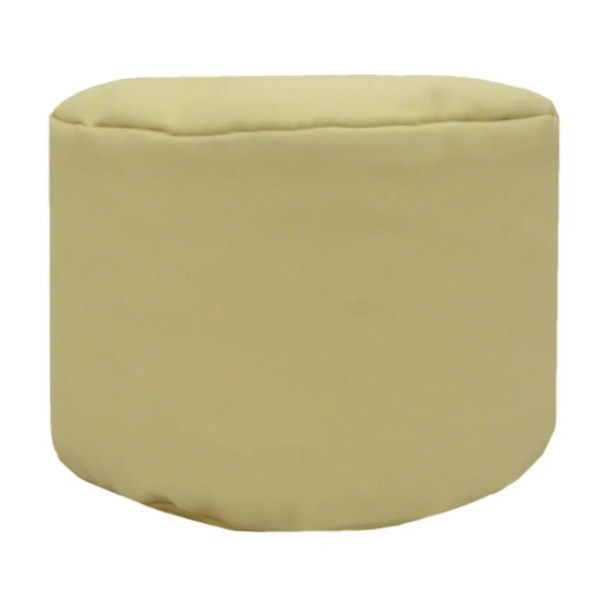 cream natural faux leather large round pouffe