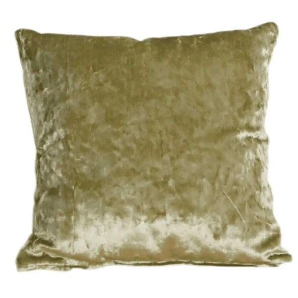 crushed velvet cushion olive green