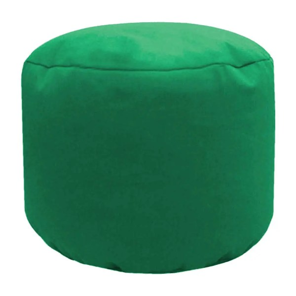 green cotton drill round footstool pouffe
