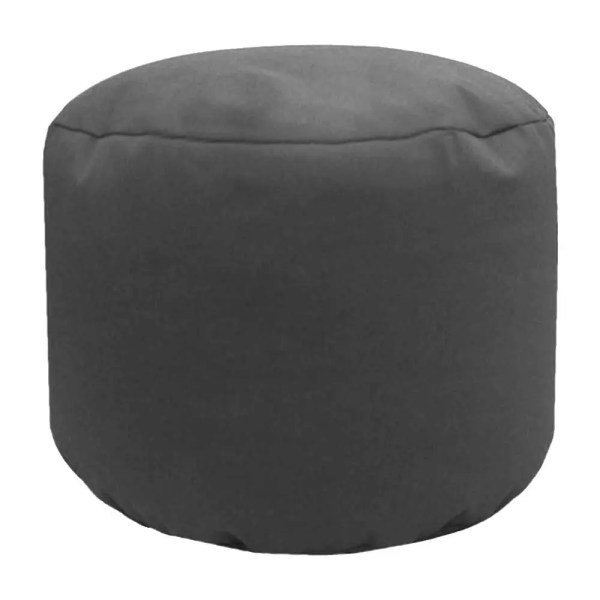 grey cotton drill round footstool pouffe