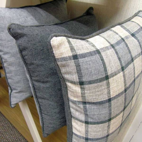 grey plain and check pattern scatter cushion covers