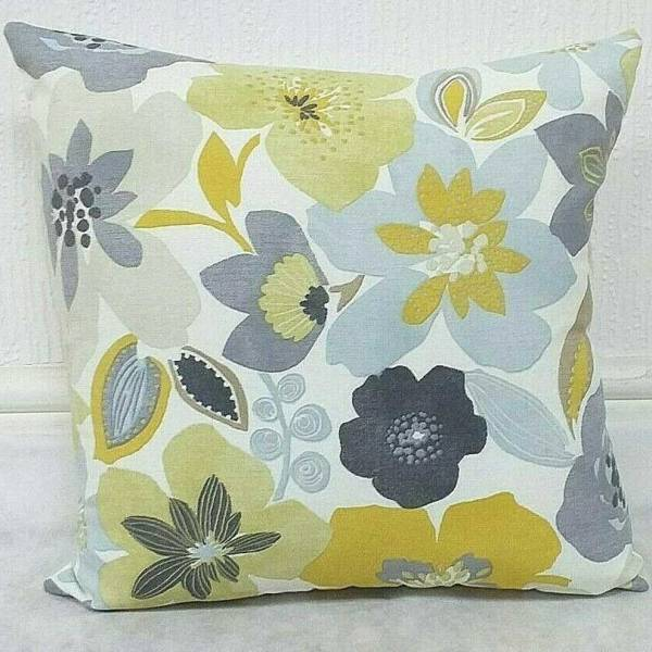 grey yellow flower pattern scatter cushion design