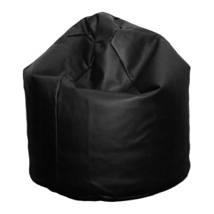 large black faux leather beanbag