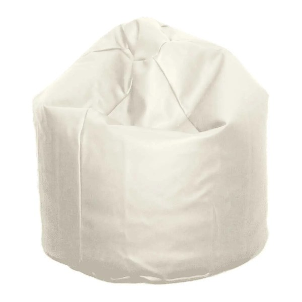 large white faux leather beanbag