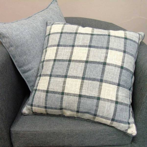 light grey check pattern scatter cushion covers
