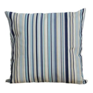 marine blue cotton striped goa scatter cushion